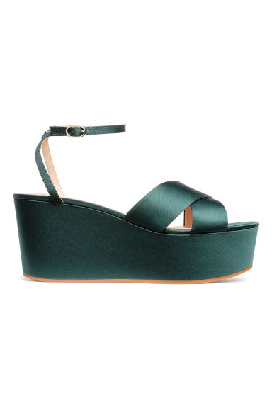 Satin platform sandals - Dark green - Ladies | H&M 1
