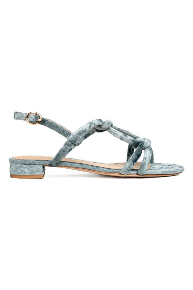 Velour sandals - Dusky green - Ladies | H&M CN 1