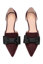 Pointed flats with a bow - Plum - Ladies | H&M 2