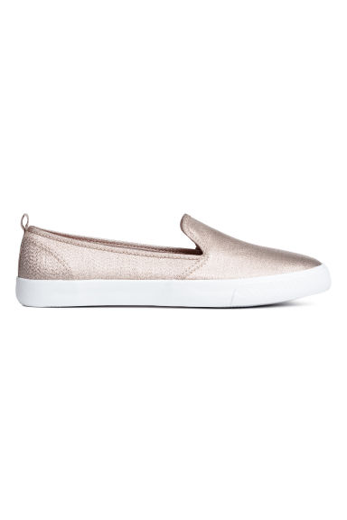 Slip-on trainers - Light beige/Glittery - Ladies | H&M CA 1