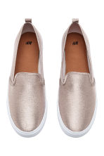 Slip-on trainers - Light beige/Glittery - Ladies | H&M CA 2