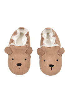 Faux fur-lined slippers