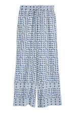 Wide trousers - Blue/White/Checked - Ladies | H&M CA 2