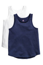 2-pack sleeveless tops - Dark blue/Spotted - Kids | H&M CN 2
