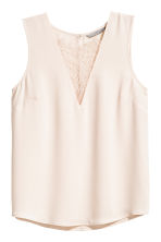 V-neck blouse with lace - Light beige - Ladies | H&M CN 2