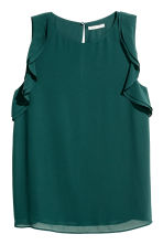 Sleeveless frilled top - Dark green - Ladies | H&M CA 2