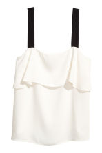 Flounced top - White/Black - Ladies | H&M CN 2