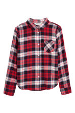 Generous fit Flannel shirt - Red/Checked - Kids | H&M CN 1