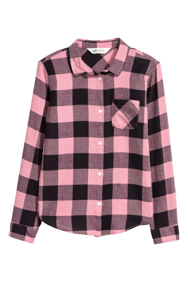 Generous fit Flannel shirt - Pink/Checked - Kids | H&M 1