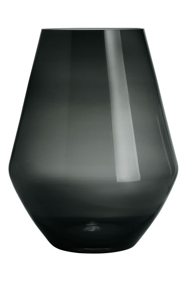 Large glass vase - Anthracite grey -  | H&M CN 1