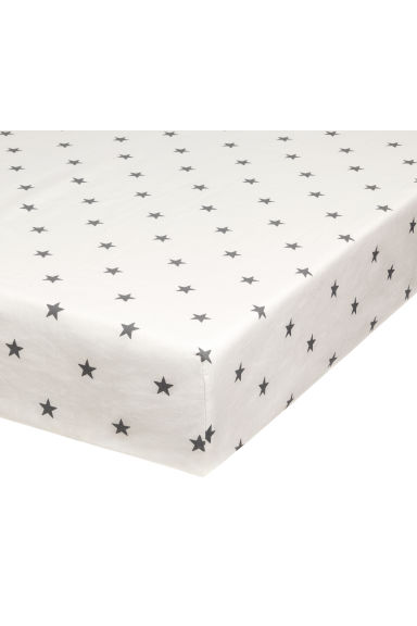 Star-print fitted sheet - White - Home All | H&M CN 1