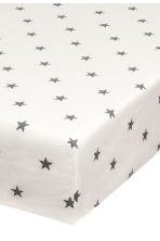 Star-print fitted sheet - White - Home All | H&M CN 2