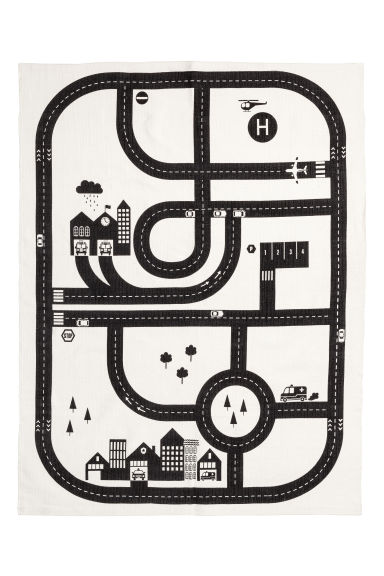 Print-motif cotton rug - White/Car track - Home All | H&M GB