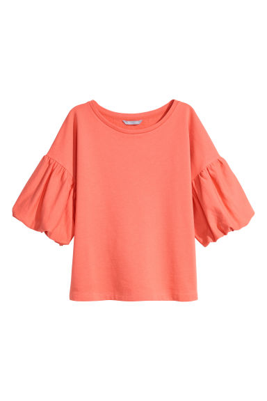 Balloon-sleeve top - Coral - Ladies | H&M 1