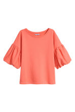 Balloon-sleeve top - Coral - Ladies | H&M CN 1