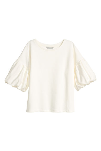 Balloon-sleeve top - White - Ladies | H&M 1