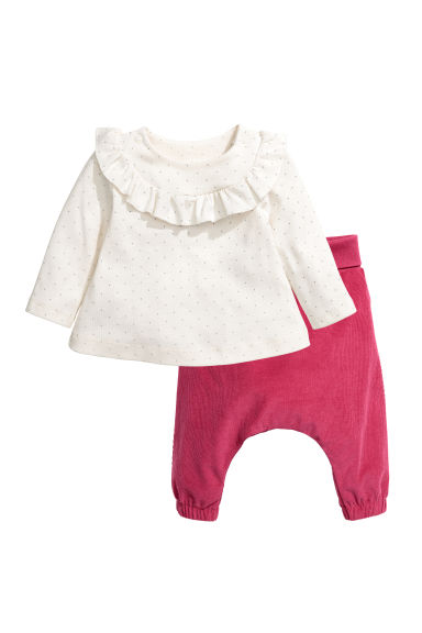 Top and corduroy trousers - Natural white/Pink - Kids | H&M