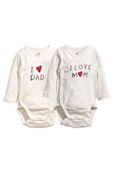 2-pack wrapover bodysuits - White -  | H&M 1