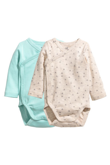 2-pack Wrapover Bodysuits - Mint green - Kids | H&M CA 1