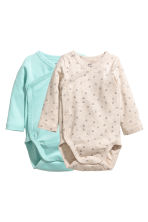 2-pack wrapover bodysuits - Mint green - Kids | H&M CN 1
