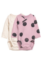 2-pack wrapover bodysuits - Pink - Kids | H&M CN 1
