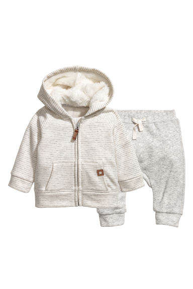 Hooded jacket and trousers - Natural white/Grey striped - Kids | H&M CN