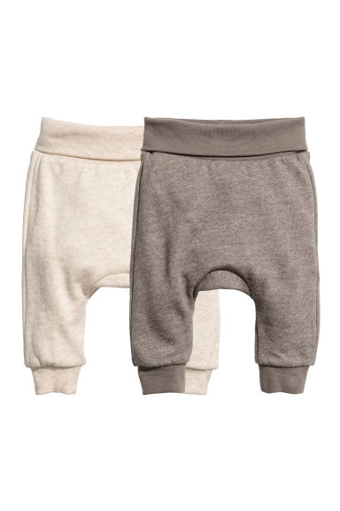 2-pack cotton trousers - Mole/Natural white - Kids | H&M CN
