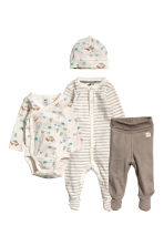 4-piece jersey set - Natural white/Patterned -  | H&M 1
