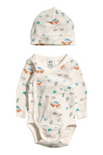 4-piece jersey set - Natural white/Patterned -  | H&M 3