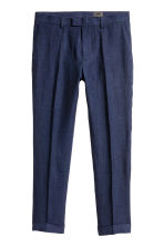 Linen suit trousers Slim fit - Dark blue - Men | H&M 2