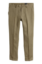 Linen Suit Pants Slim fit - Khaki green - Men | H&M CA 2