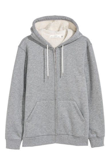 Pile-lined hooded jacket - Grey marl -  | H&M
