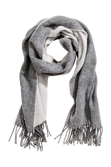 Woven scarf - Grey/White - Ladies | H&M GB 1