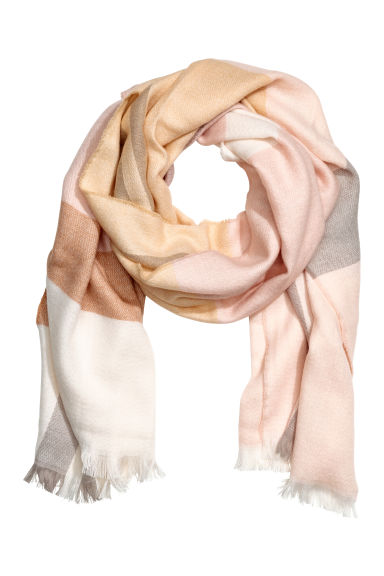 Woven scarf - Powder pink/Checked - Ladies | H&M 1