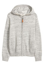 Knitted hooded jacket - Light grey - Kids | H&M CN 2