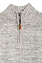 Knitted jumper with a collar - Grey marl -  | H&M CN 3