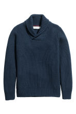 Shawl-collar jumper - Dark blue -  | H&M CN 2