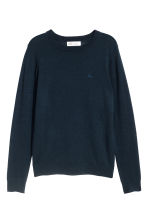 Fine-knit merino wool jumper - Dark blue - Kids | H&M CN 1