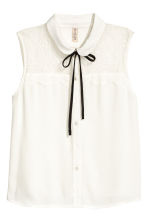 Sleeveless lace-yoke blouse - White - Ladies | H&M 2