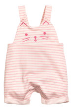 Cotton dungarees - Light pink/Striped -  | H&M 1