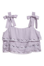 Cropped top with lace - Light purple - Ladies | H&M 2