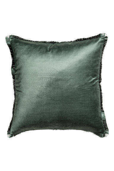 Fringe-trimmed cushion cover - Moss green - Home All | H&M CA