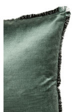 Fringe-trimmed cushion cover - Moss green - Home All | H&M CN 2
