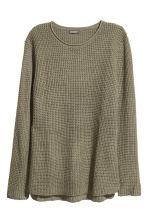 Textured-knit jumper - Khaki green - Men | H&M GB 2