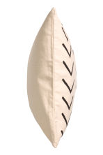 Cotton canvas cushion cover - Natural white/Patterned -  | H&M CN 3
