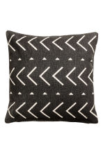 Cotton canvas cushion cover - Charcoal gray/patterned - Home All | H&M CA 1