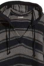 Knitted hooded jumper - Black/Grey/Striped - Men | H&M CN 3