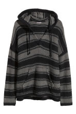 Knitted hooded jumper - Black/Grey/Striped - Men | H&M GB 2