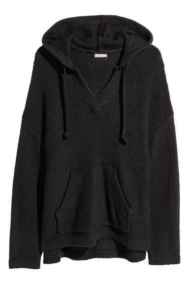 Knitted hooded jumper - Black - Men | H&M IE 1