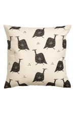 Patterned cushion cover - Natural white/Birds - Home All | H&M CA 2